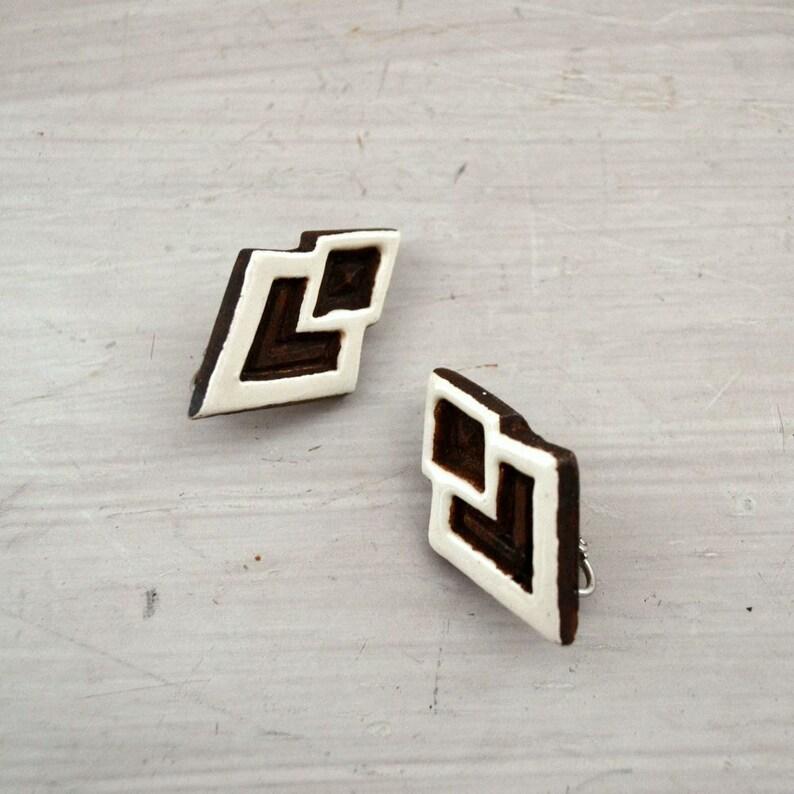 Geometric Wood Earrings  1970s Tribal Earrings  Vintage Clip image 0