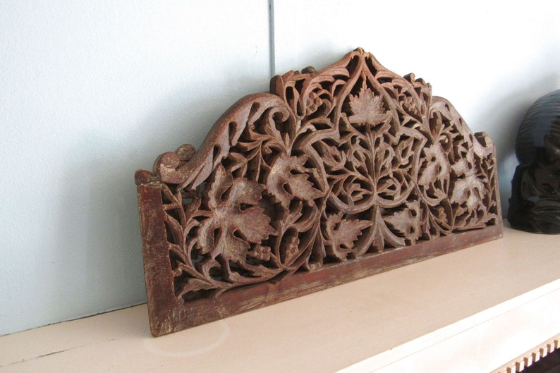 Wood Wall Plaques  Antique Wooden Vent Grates  Carved Wood image 0