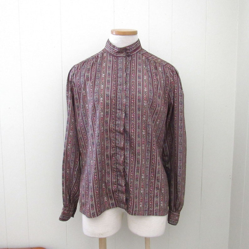 70s High Collar Blouse  Vintage Boho Retro Silk Blend Blouse image 0