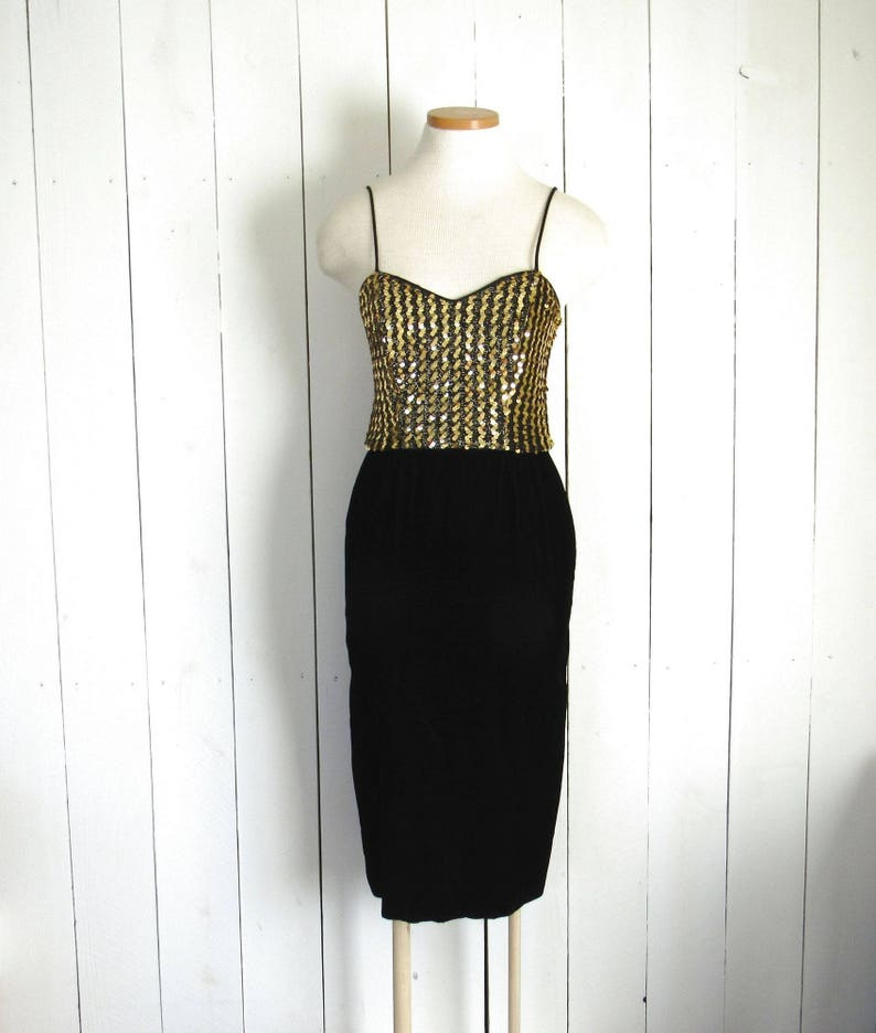 Velvet Sequin Dress  Vintage Glam Rock Cocktail Dress and image 0