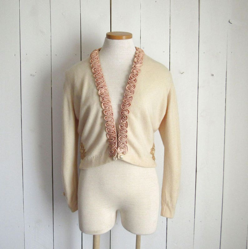 Vintage Cashmere Sweater  1950s Hollywood Glamour Rockabilly image 0