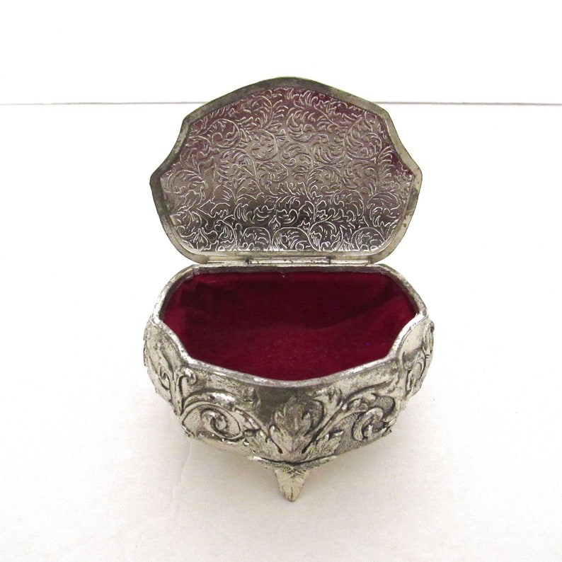 Silver Ring Box  Vintage Jewelry Box with Red Felt Lining  image 0
