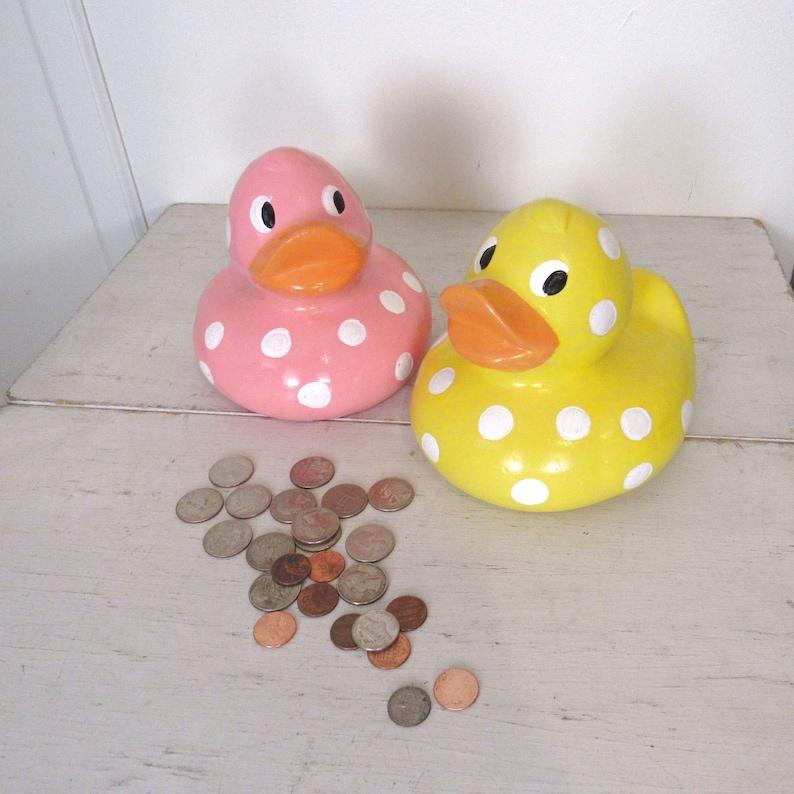 Chalkware Piggy Bank  70s Polka Dot Rubber Ducky Coin Banks  image 0