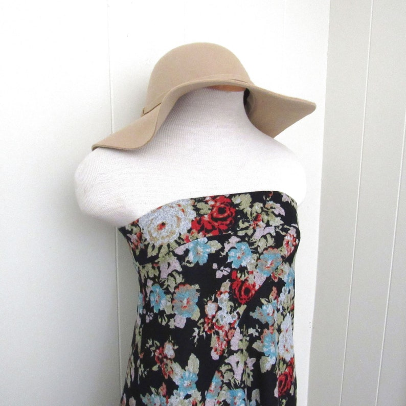 90s Festival Wear  Vintage Maxi Skirt or Dress  Black Flower image 0