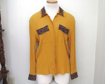 Crepe Button Up Blouse - 1970s Vintage Womens Top - Retro Mustard Yellow - Small S / Medium M