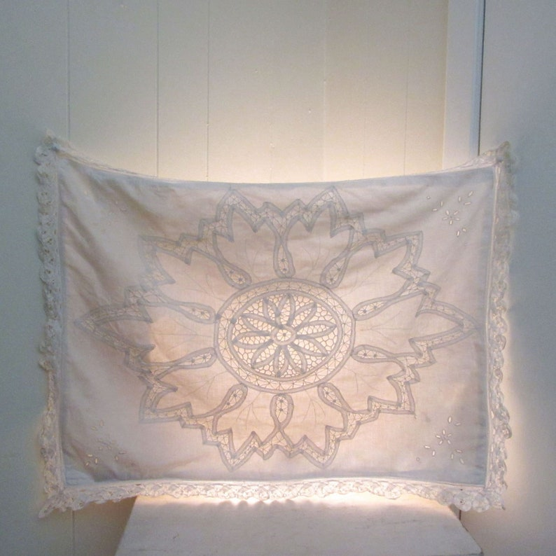 Vintage Lace Pillowcase  1970s Hippie Wall Hanging  Modern image 0