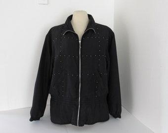 80s Windbreaker Bomber Jacket - EVR Rousso Apparel Vintage Silk Jacket - Black Silver Beaded Jacket - Extra Large XL