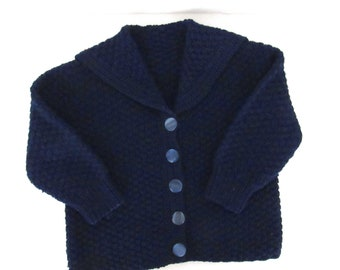 Vintage Baby Kids Sweater - Navy Blue Knit Sweater with Rooster Appliques - 70s Knit Sweater - 28 Inch Chest