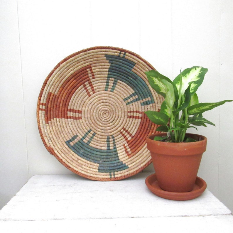 Flat Basket Wall Hanging  Tribal Home Decor  Vintage Beige image 0