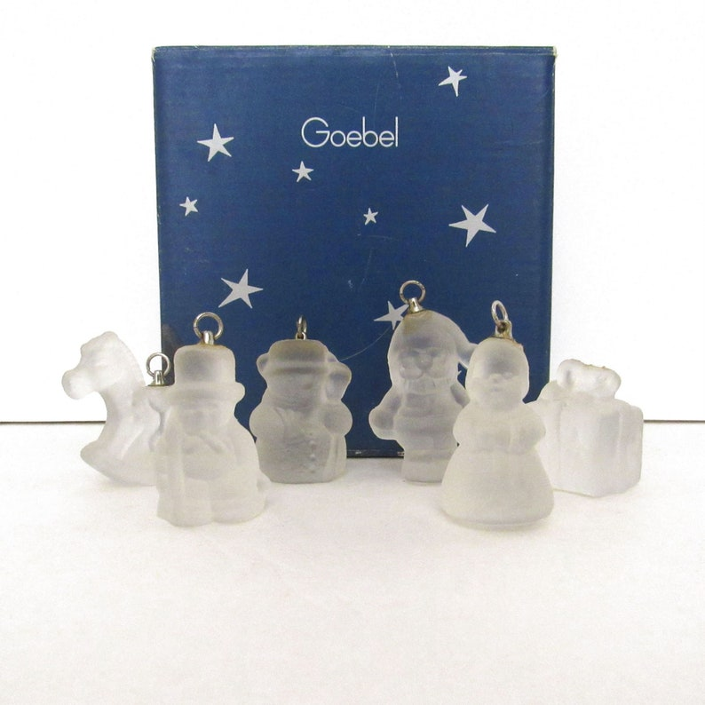 Goebel Frosted Glass Christmas Ornaments  Vintage 80s Germany image 0