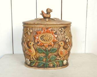 Lefton Cookie Jar - Birds and Sunflowers - Vintage Glazed Ceramic Kitchen Canister - 1950s Mid Century Decor