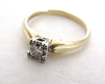 Diamond Engagement Ring - Vintage 1950s Solitaire Diamond Ring - 14 Kt Yellow and Platinum Gold Petite Diamond Mid Century Ring - 0.25 Carat