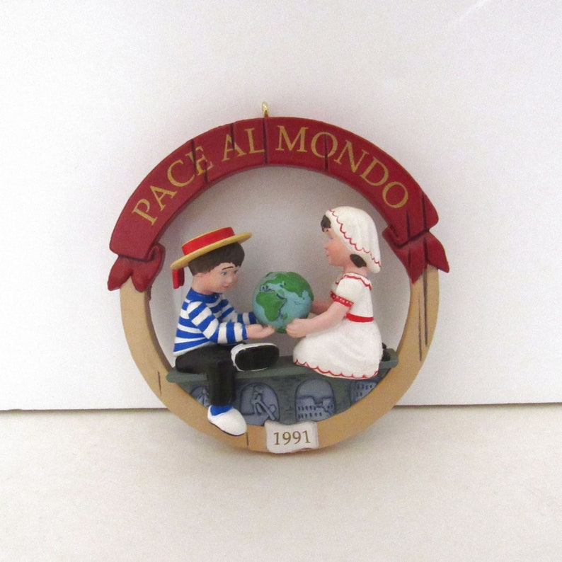 Peace on Earth Hallmark Ornament  Vintage 90s  Italy Pace Al image 0