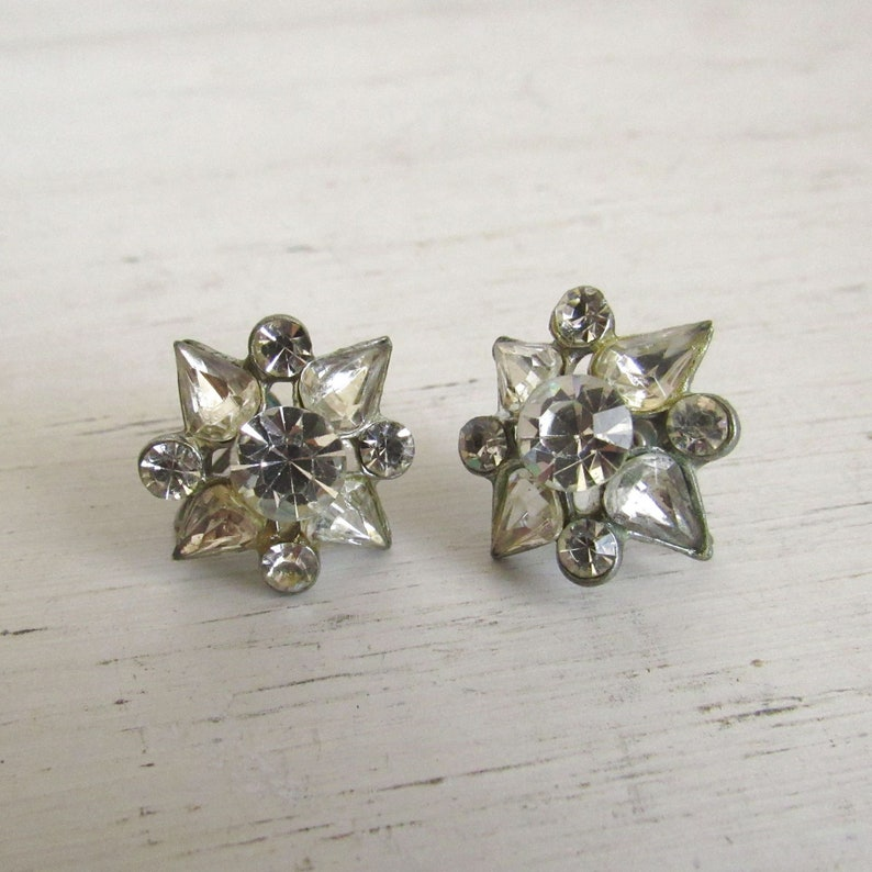 Starburst Rhinestone Earrings  1950s Mid Century Celestial image 0
