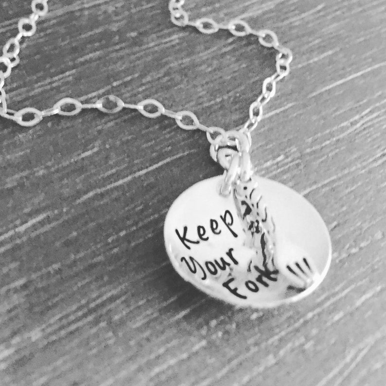 Keep Your Fork Best Is Yet To Come Sterling Silver Necklace image 0
