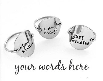 Ultimate Silver Statement Ring | Phrase Jewelry | Personalized Custom Secret Message Note Rings