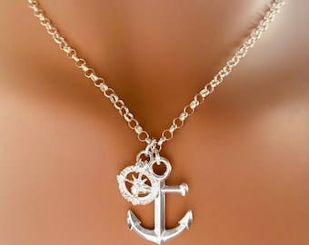 Anchor Sterling Silver Pendant With CZ Diamond Compass Charm Necklace