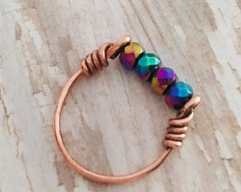 Recycled Copper and Faceted Rainbow Hematite SPINNER Fidget Ring sizes 4 to 12