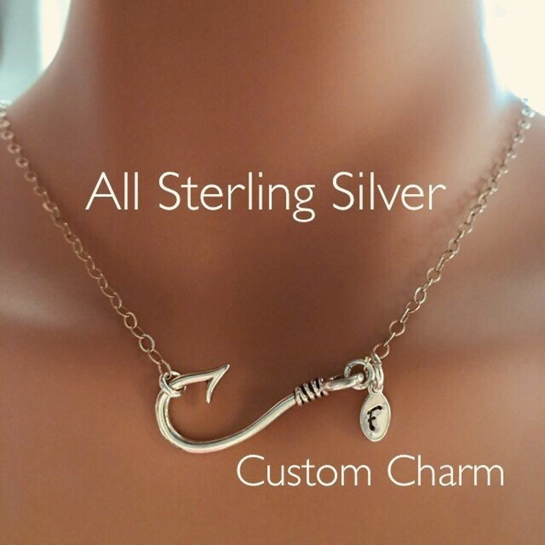 Sporty Sterling Silver Fishhook adjustable Anklet with heart or custom made monogrammed charm Fish Hook