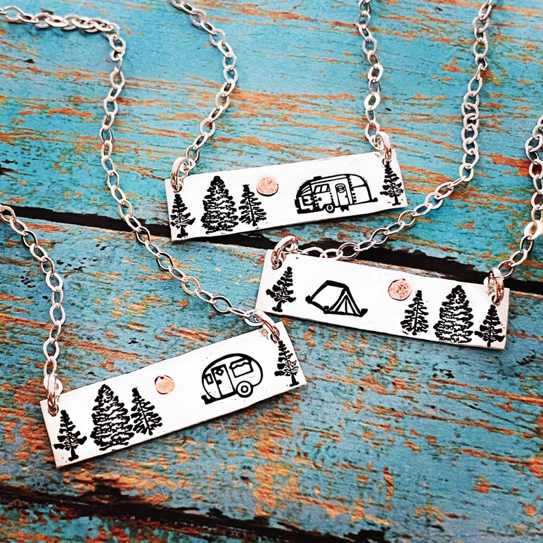 Camping is my Sanity Sterling Silver and Copper Necklace image 0