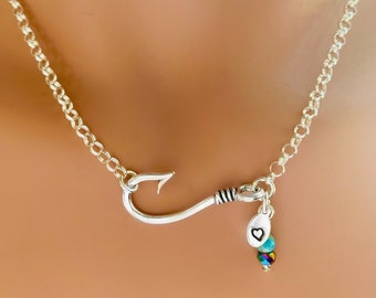 Sterling Silver Fishhook Custom Stamped Charm, Turquoise, Rainbow Hematite and Silver Beads Necklace Fish Hook Pendant