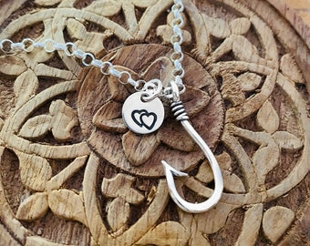 Fishhook Sterling Silver Pendant With Custom Charm Necklace | Personalized Fish Hook
