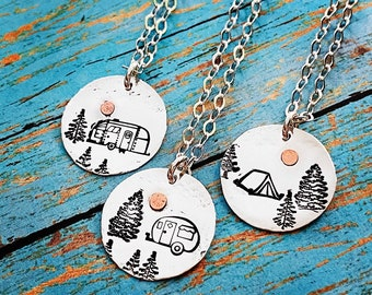 Tent Airstream Canned Ham Camping is my Sanity Sterling Silver and Copper Necklace Camper Trailer