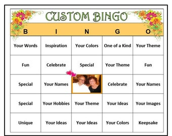 Completely Custom Bingo Your Words Theme Personalize Party Very Fun Cards Sent By Email For You To Print