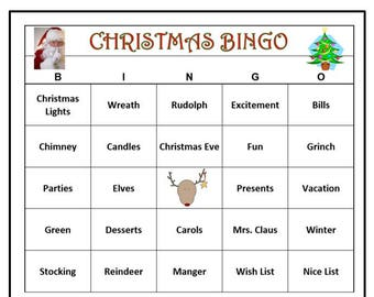 Christmas Party Bingo Game-  Holiday Activity for All Ages. Christmas Eve. Christmas Day Fun!