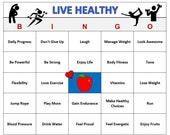 Live Healthy Bingo Game (60 Cards) Fitness, Wellness, Healthy Living Theme Bingo Words -Positive Phrases, Very Fun Print and Play