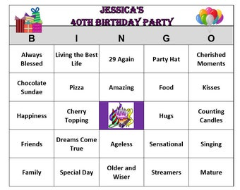 Personalized Birthday Party Bingo Game 30 Cards Celebration Words And Phrases Fun Easy To Play