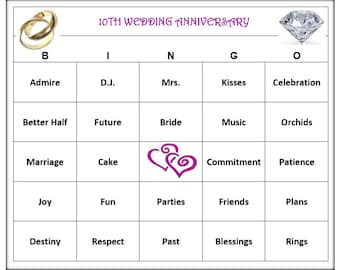 10th Anniversary Party Bingo Game 30 Cards Love And Wedding Themed Words Very Fun Print Play