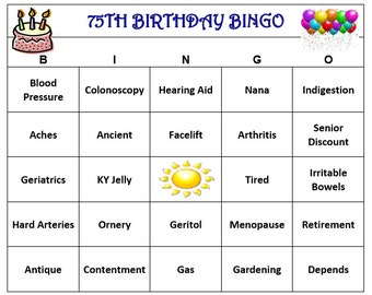 75th Birthday Party Bingo Game 30 Cards Old Age Theme Words Very Funny Print And Play