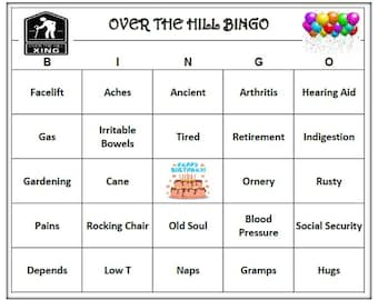 Over The Hill Birthday Party Bingo Game 60 Cards Old Age Theme Words Very Funny Print And Play