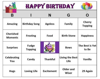Happy Birthday Party Bingo Game For Adult