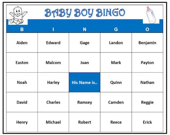 Boy Names: Baby Boy Names Bingo Game 30 Cards Fun For Baby Name