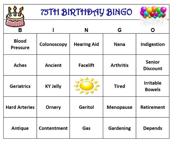 75th Birthday Party Bingo Game 60 Cards Old Age Theme