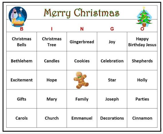 Printable christmas bingo cards for 30
