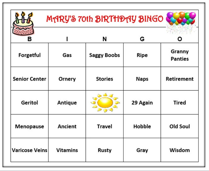 Personalized 70th Birthday Party Bingo Game Funny Age Themed