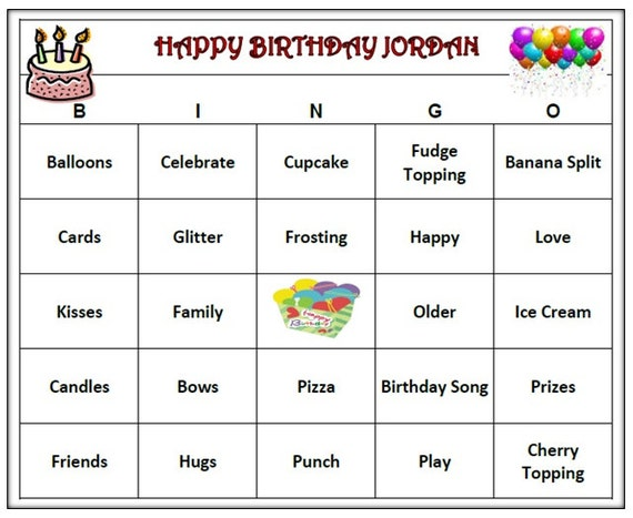 Personalized Kids Birthday Party Bingo Game Childs