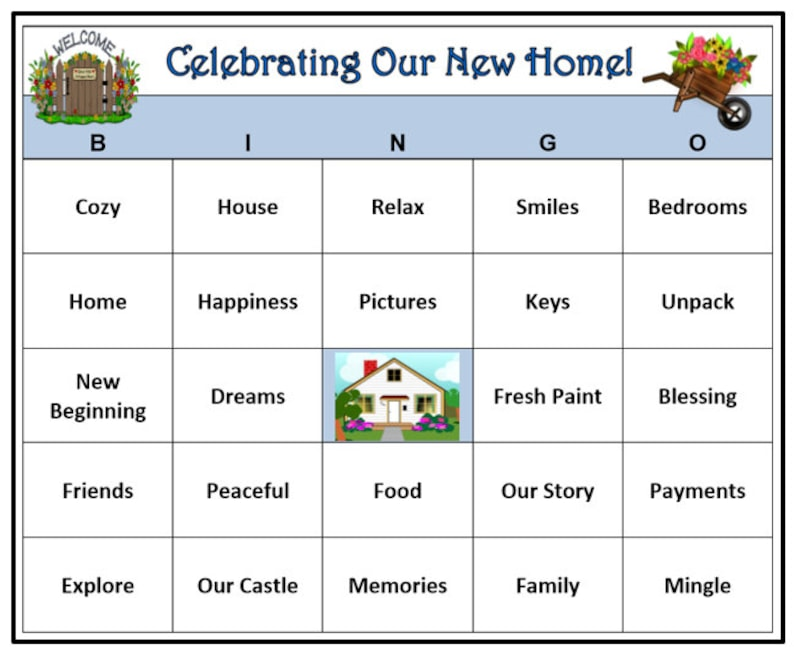 graphic regarding Printable Housewarming Games known as Housewarming Bash Bingo Sport (30 Playing cards) Residence and Dwelling Get together Concept Bingo Terms -Exceptionally Entertaining! Print and Enjoy!
