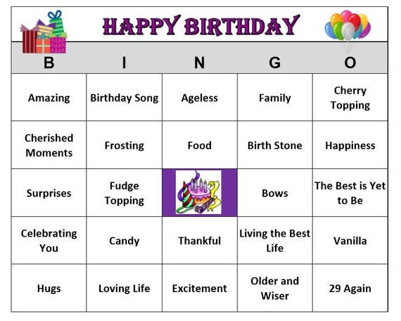 Happy Birthday Party Bingo Game For Adult Positive