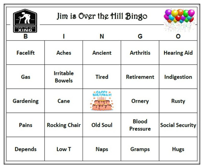 Personalized Over The Hill Birthday Party Bingo Game Age