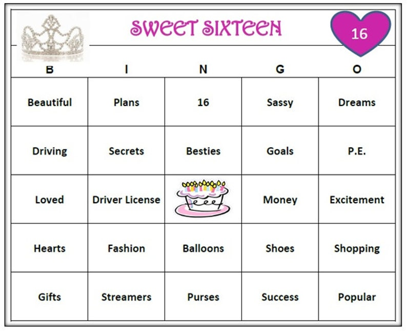 Sweet 16 Birthday Party Bingo Game (60 Cards) Fun and Easy to Play!  Celebrate Your Teen! Print and Play!