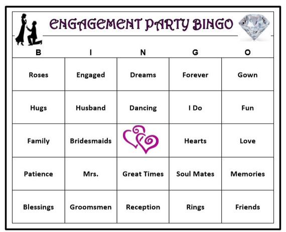 picture about Bingo Patterns Printable named Engagement Get together Bingo Sport (60 Playing cards) Marriage Themed Bingo Phrases -Quite Exciting! Print and Participate in!