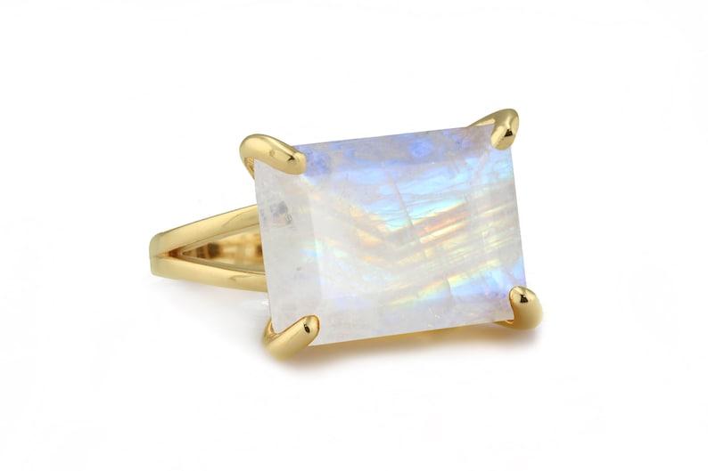 Moonstone Ring \u00b7 Rainbow Ring \u00b7 Rectangle Ring \u00b7 Gemstone Ring \u00b7 October Birthstone Ring \u00b7 Statement Ring \u00b7 Rose Gold Ring \u00b7 Rings For Women