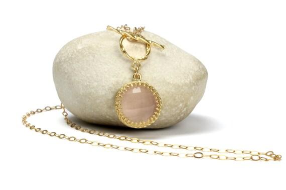 Rose quartz necklace,love stone pendant,toggle necklace,gold necklace,yellow gold chain necklace,gemstone necklace