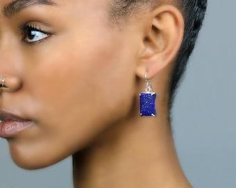 14k Rose Gold Earrings · Lapis Lazuli Earrings · Lapis Earrings · Rose Gold Jewelry · Rose Gold Stone Earrings