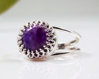 ETSY BIRTHDAY SALE - Amethyst ring,sterling silver ring,silver amethyst jewelry,vintage ring,Febraury birthstone ring