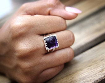 ETSY BIRTHDAY SALE - Amethyst ring,Silver gemstone ring,square ring,purple ring,February birthstone ring,double band ring